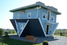 A picture of an upside down house