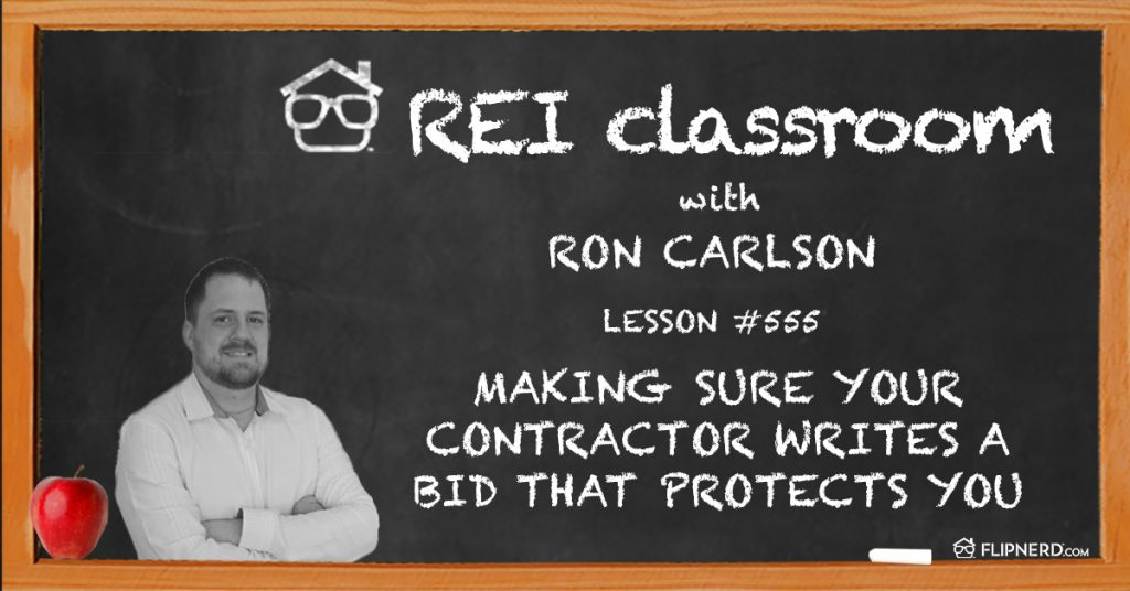 Picture of a chalk board and Ron Carlson with a lesson on real estate investing with contractors