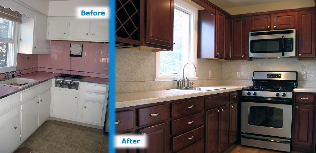 Kitchen before and after 11 renovation gurus for Renovation projects before and after